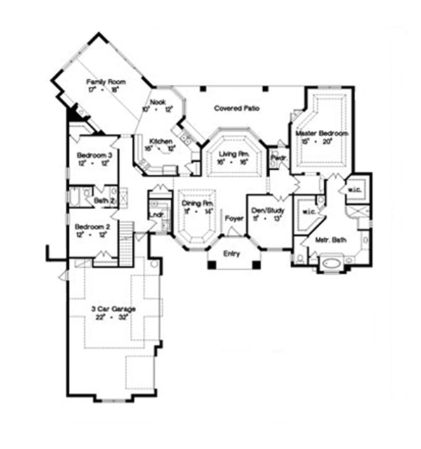 European Floor Plan - Main Floor Plan Plan #417-808