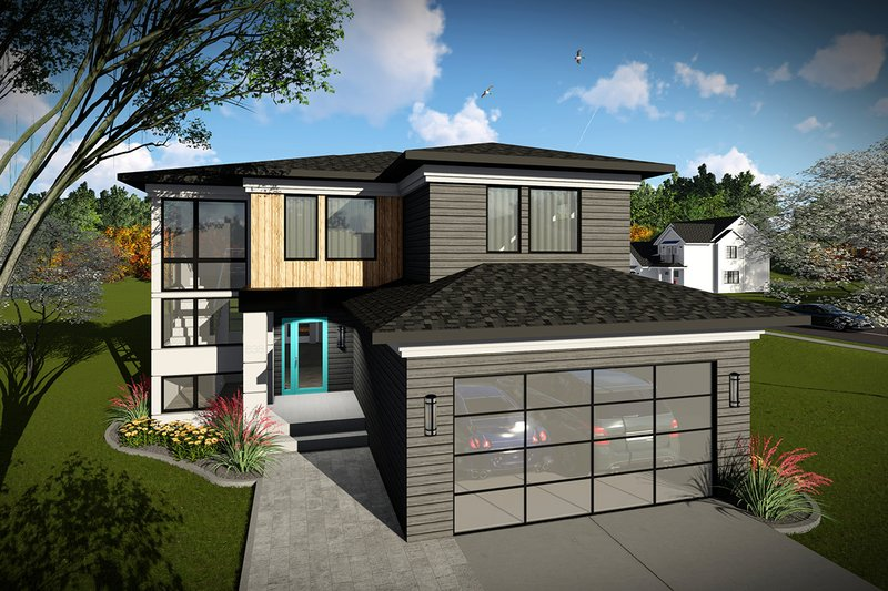 Modern Style House Plan - 4 Beds 2.5 Baths 2309 Sq/Ft Plan #70-1465 Exterior - Front Elevation