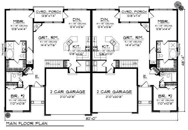 Traditional Floor Plan - Main Floor Plan Plan #70-893