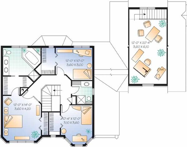 European Floor Plan - Upper Floor Plan Plan #23-2450