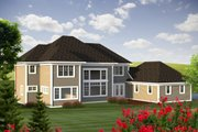 Traditional Style House Plan - 4 Beds 4.5 Baths 3346 Sq/Ft Plan #70-1184 Exterior - Rear Elevation