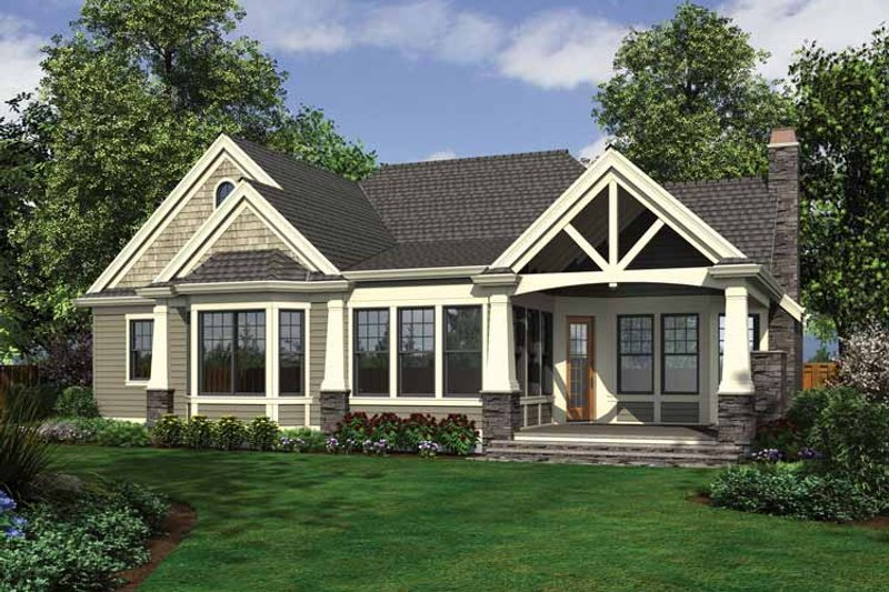 Craftsman Exterior - Rear Elevation Plan #132-546 - Houseplans.com
