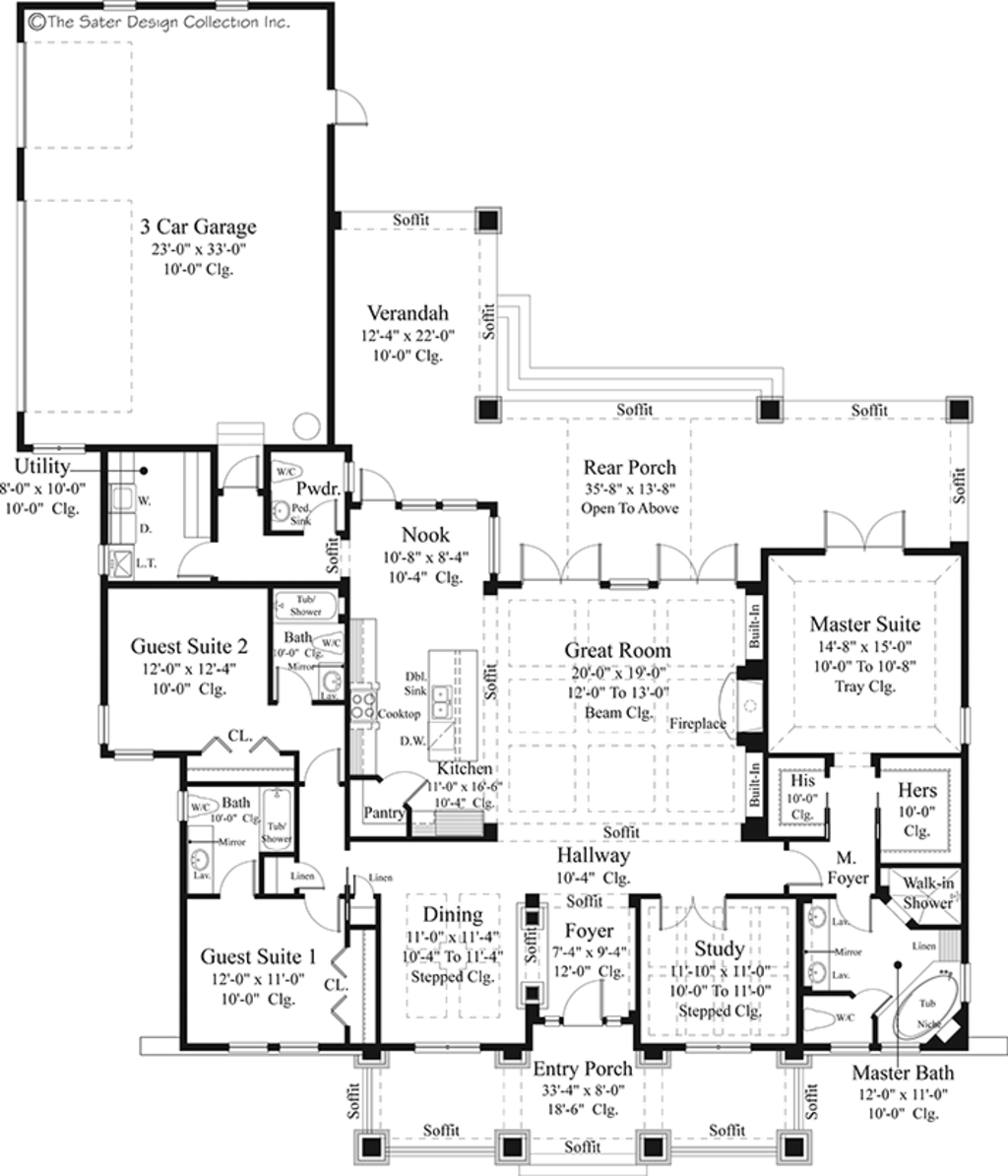 Prairie style house plan 3 beds 3 5 baths 2476 sq ft for Prairie floor plans