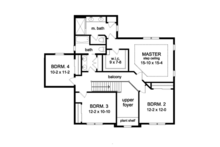 Colonial Floor Plan - Upper Floor Plan Plan #1010-57