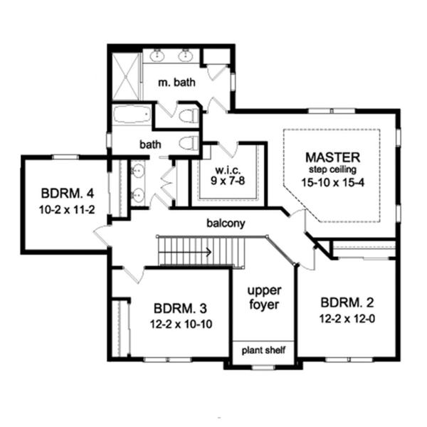 Colonial Floor Plan - Upper Floor Plan Plan #1010-57