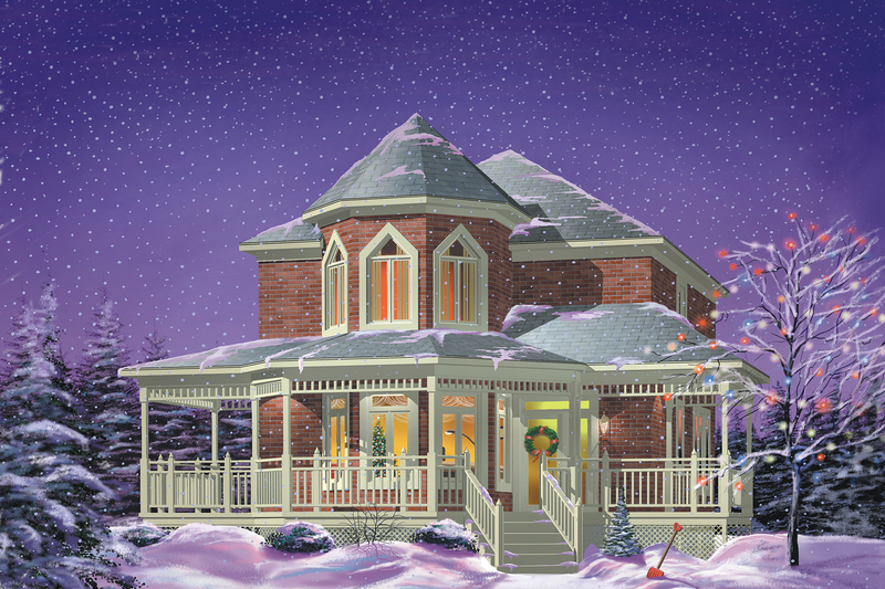 Victorian Style House Plan - 3 Beds 1.5 Baths 1852 Sq/Ft Plan #25-2045 Exterior - Front Elevation
