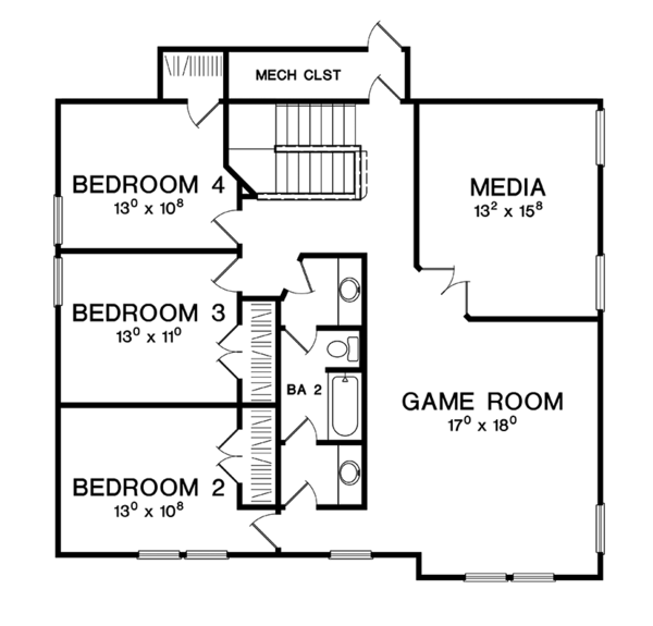 Craftsman Floor Plan - Upper Floor Plan Plan #472-437