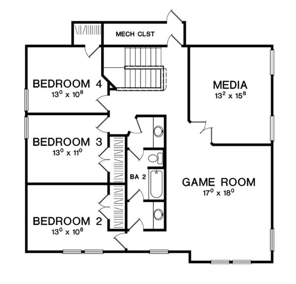 Craftsman Floor Plan - Upper Floor Plan Plan #472-437
