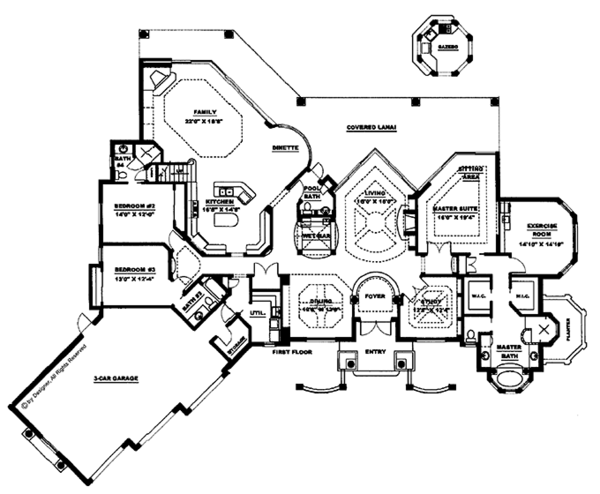 Mediterranean Floor Plan - Main Floor Plan Plan #1017-2