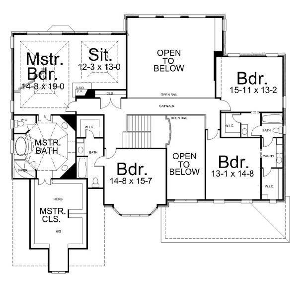 European Style House Plan - 5 Beds 4.5 Baths 4463 Sq/Ft Plan #119-315 Floor Plan - Upper Floor Plan