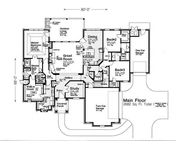 House Plan Design - European Floor Plan - Main Floor Plan #310-1291