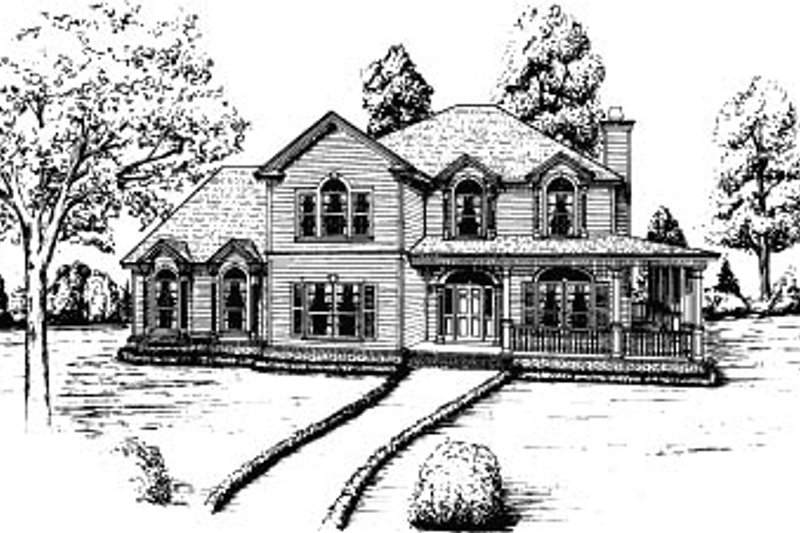 Country Style House Plan - 4 Beds 3.5 Baths 2852 Sq/Ft Plan #37-219 Exterior - Front Elevation
