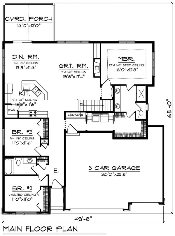 Ranch Floor Plan - Main Floor Plan Plan #70-1491