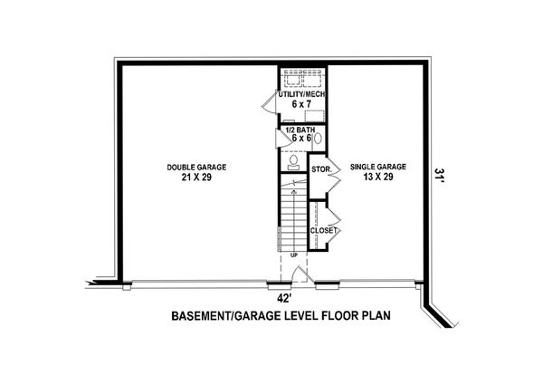 Lower Level floor plan - 1200 square traditional home