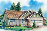 Ranch Style House Plan - 2 Beds 2 Baths 1195 Sq/Ft Plan #18-1021 Exterior - Front Elevation