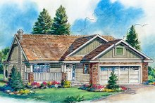Ranch Exterior - Front Elevation Plan #18-1021