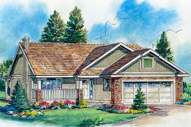 House Blueprint - Ranch Exterior - Front Elevation Plan #18-1021