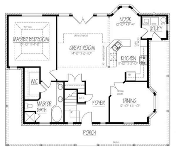 Colonial Floor Plan - Main Floor Plan Plan #1061-16