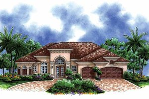 Architectural House Design - Mediterranean Exterior - Front Elevation Plan #1017-139