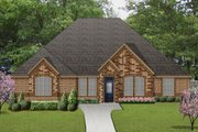 European Style House Plan - 4 Beds 3 Baths 2963 Sq/Ft Plan #84-632 Exterior - Front Elevation