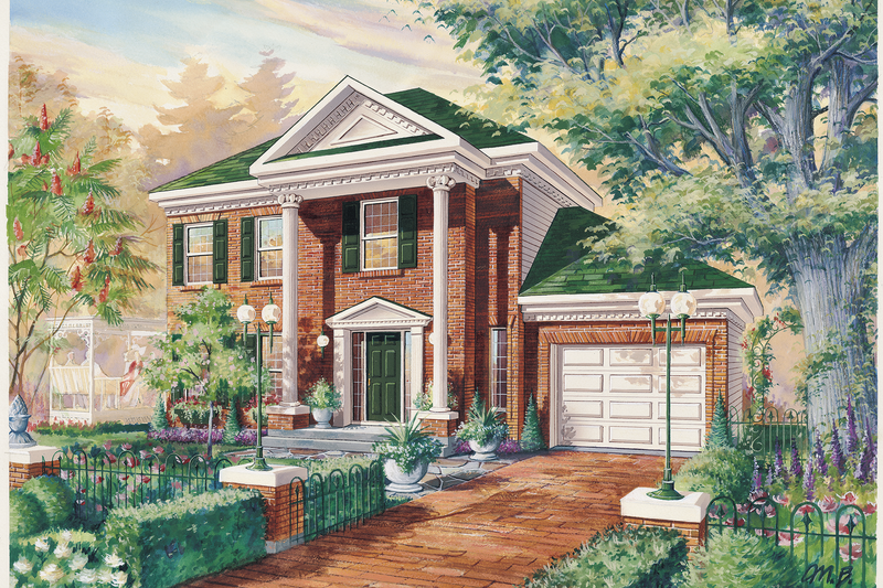 Colonial Style House Plan - 3 Beds 1 Baths 1300 Sq/Ft Plan #25-4786 Exterior - Front Elevation