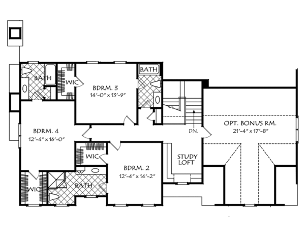 Traditional Floor Plan - Upper Floor Plan Plan #927-963