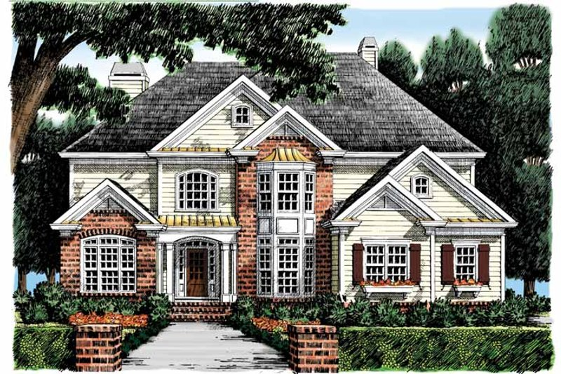 Colonial Exterior - Front Elevation Plan #927-875