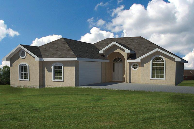 Architectural House Design - Adobe / Southwestern Exterior - Front Elevation Plan #1061-19