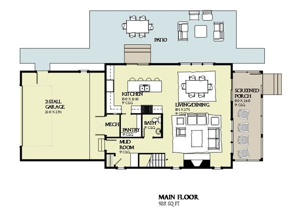 Beach Floor Plan - Main Floor Plan Plan #901-121