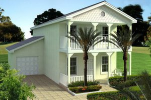 Southern Exterior - Front Elevation Plan #420-221