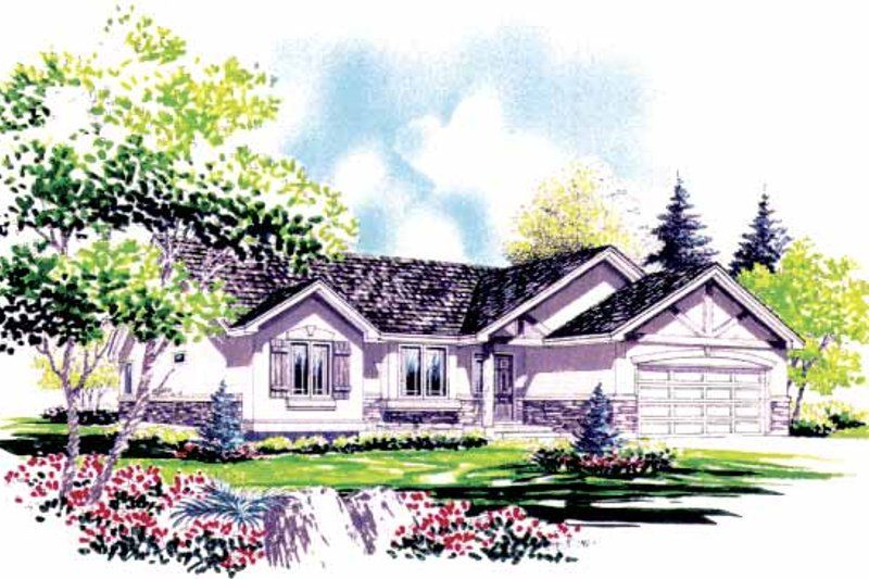 Tudor Exterior - Front Elevation Plan #308-277