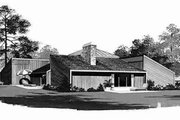 Contemporary Style House Plan - 3 Beds 3 Baths 2805 Sq/Ft Plan #72-302 Exterior - Rear Elevation
