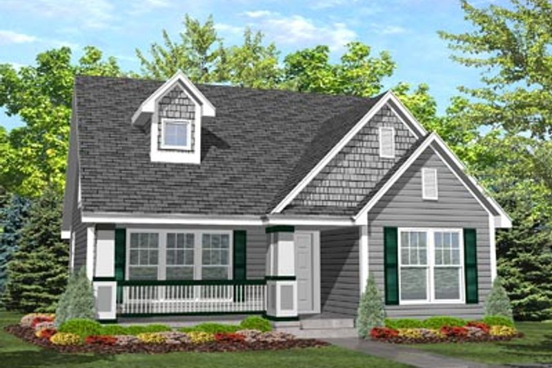 Craftsman Style House Plan - 4 Beds 2 Baths 1385 Sq/Ft Plan #50-124 Exterior - Front Elevation