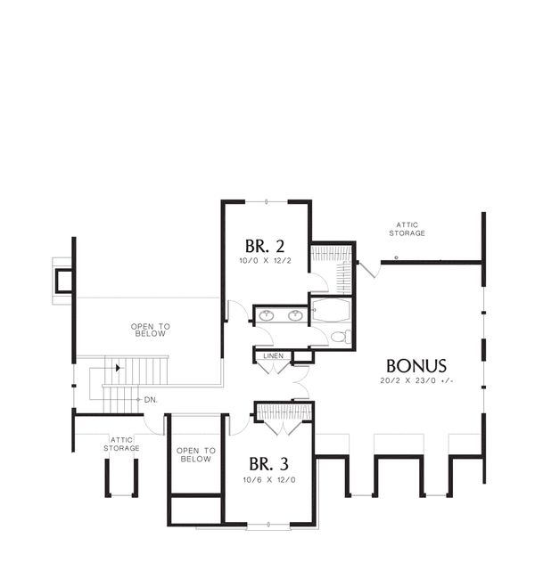 Dream House Plan - Craftsman Style house plan, bungalow design, upper level floor plan