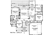 Traditional style house plan, floor plan