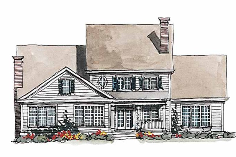 Colonial Exterior - Rear Elevation Plan #429-178 - Houseplans.com