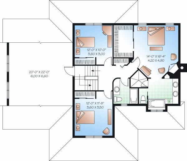 Traditional Floor Plan - Upper Floor Plan Plan #23-845