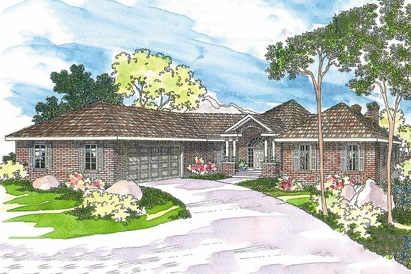 Home Plan - Ranch style home, elevation