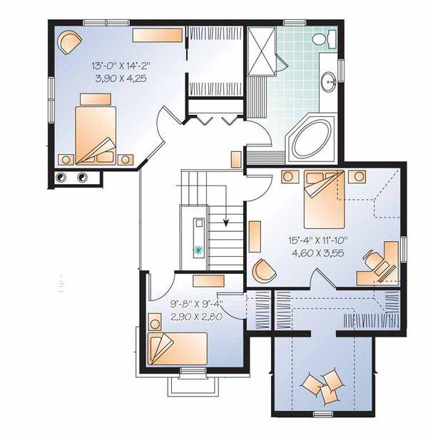 European Floor Plan - Upper Floor Plan Plan #23-2539