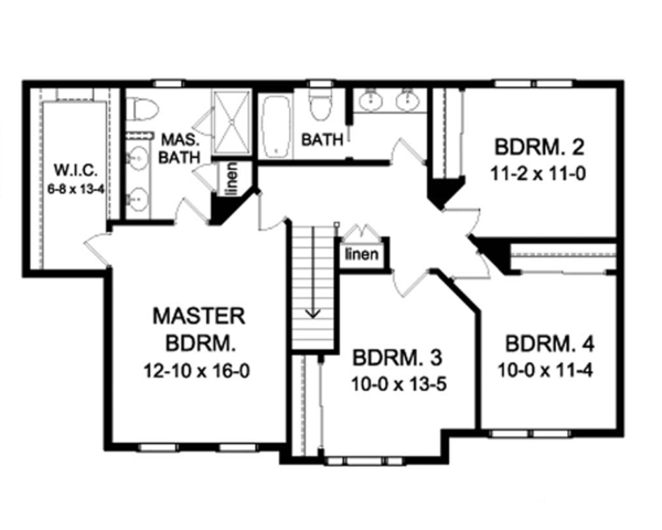 Colonial Floor Plan - Upper Floor Plan Plan #1010-59