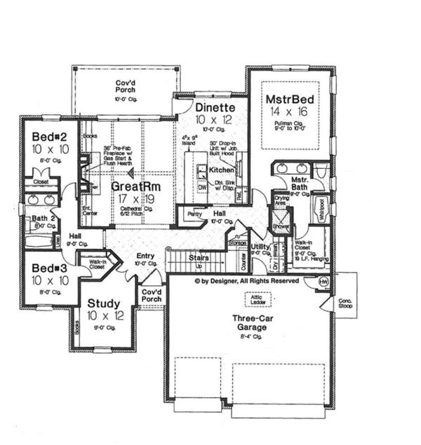 House Plan Design - European Floor Plan - Main Floor Plan #310-1258