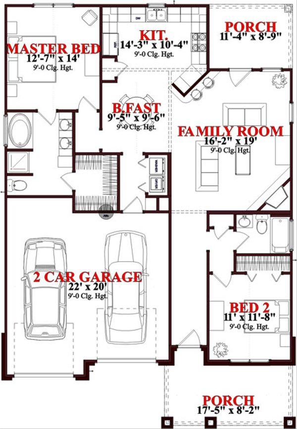 Bungalow Floor Plan - Main Floor Plan Plan #63-236