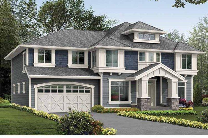 Prairie Exterior - Front Elevation Plan #132-381 - Houseplans.com