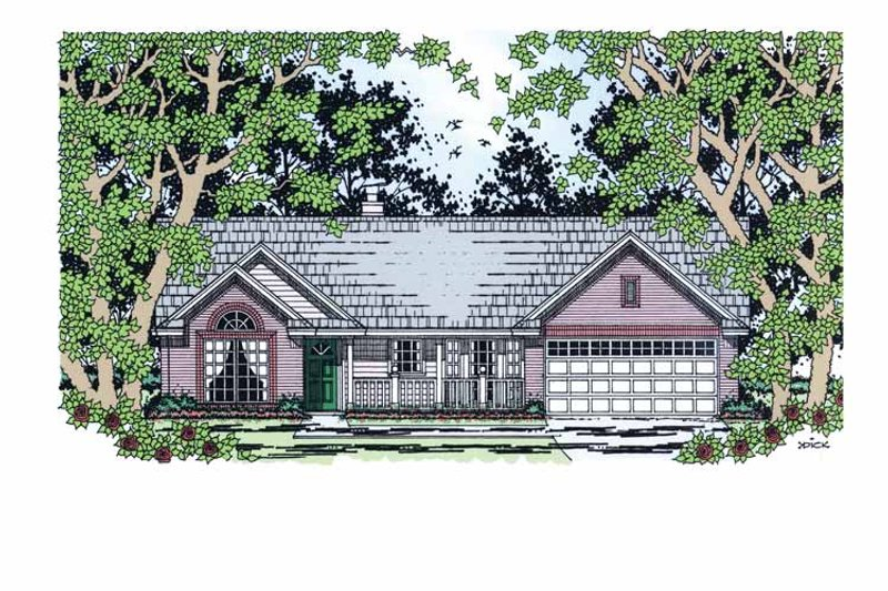 Architectural House Design - Country Exterior - Front Elevation Plan #42-596