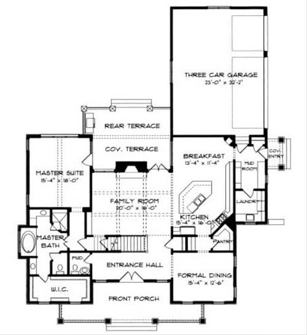Craftsman Floor Plan - Main Floor Plan Plan #413-105