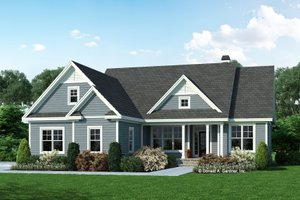 Ranch Exterior - Front Elevation Plan #929-1117