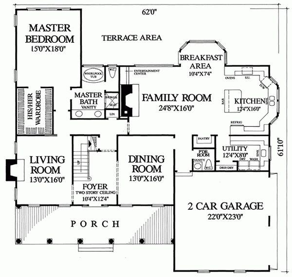 Southern Floor Plan - Main Floor Plan Plan #137-174
