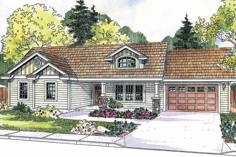 Craftsman Style House Plan - 3 Beds 2 Baths 1510 Sq/Ft Plan #124-696 Exterior - Front Elevation