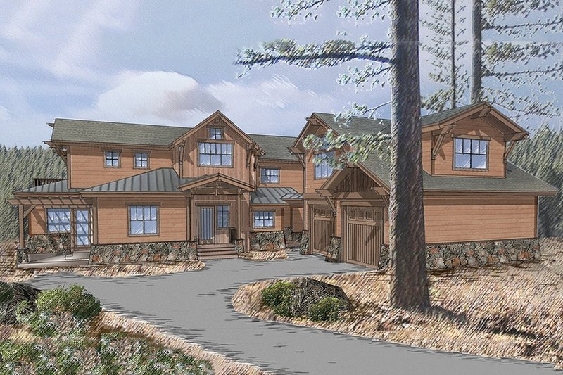 Craftsman Style House Plan - 5 Beds 6 Baths 3700 Sq/Ft Plan #899-3 Exterior - Front Elevation