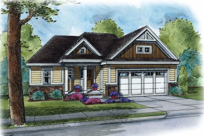 Cottage Style House Plan - 3 Beds 2 Baths 1619 Sq/Ft Plan #20-2260 Exterior - Front Elevation